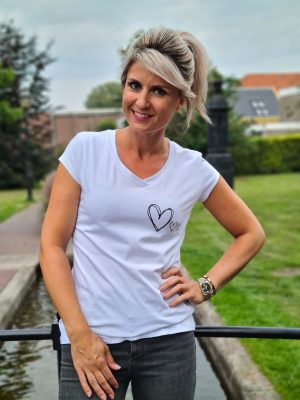 Shirtje Hearts wit